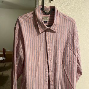 J CREW BUTTON DOWN PINK AND BLUE STRIPE M